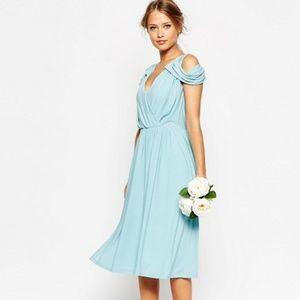 ASOS TALL Drape Cold Shoulder Midi Dress - Navy
